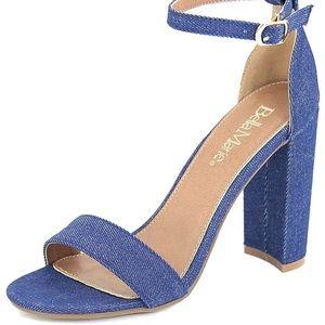 Shoes - Blue Denim ankle strap open toe heel *NWT*✨✨